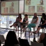 Panelists speak to those who attended Kansas City Women in Technology's May 2019 Tech Talk on remote work at Children's Mercy Park.